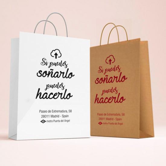 939b32b54 Bolsas de papel con asa rizada personalizadas en Madrid