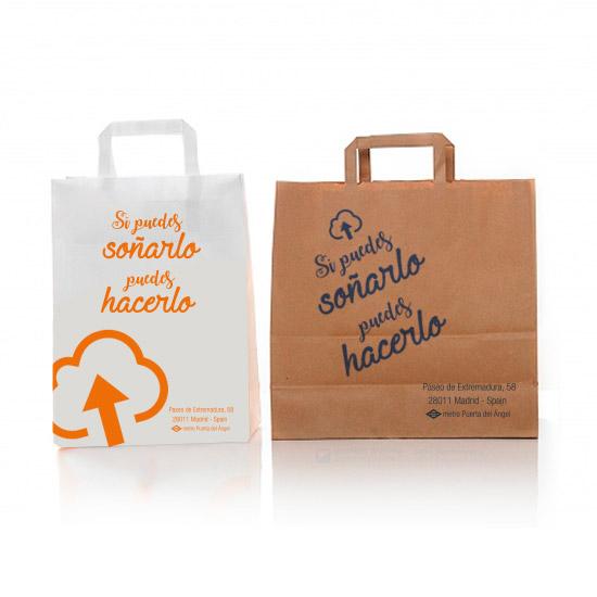 42e4d7aa4 Bolsas de papel baratas en Madrid. Bolsas de papel con asa plana.